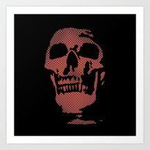 skull, optical effect, optical pattern, red skull,