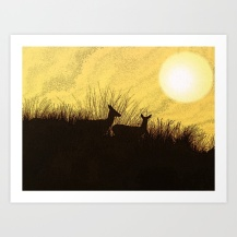safari, deer, warmth, african style art, sunset,