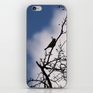 silhouette-of-bird-and-berries-phone-skins