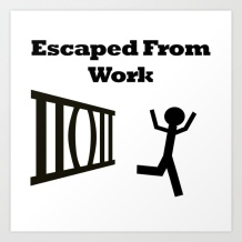 Work, escape, freedom, joy, stick man, stickman, escape from work, end of the day, free from work, jail break bars, fun art,